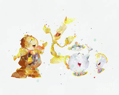 Beauty And The Beast Lumiere Cogsworth Poster by Monn Print