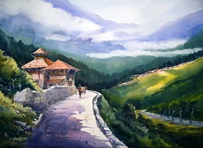 Poster featuring the painting Beauty Of Himalaya by Samiran Sarkar