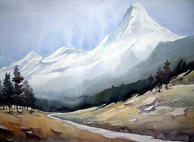 Poster featuring the painting Beauty Of Himlayan Peaks by Samiran Sarkar