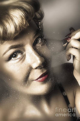 Beauty Pin-up Woman Applying Makeup Poster by Jorgo Photography - Wall Art Gallery