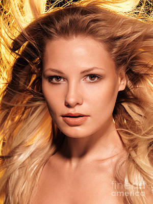 Beauty Portrait Of A Woman With Glowing Golden Blond Hair Poster