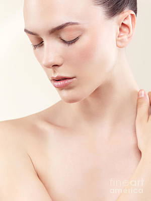 Beauty Portrait Of Young Woman With Clean Natural Skin Closed Ey Poster
