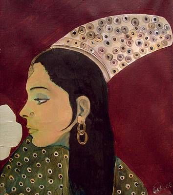 Poster featuring the mixed media Beauty Queen Of The Mughals by Saad Hasnain