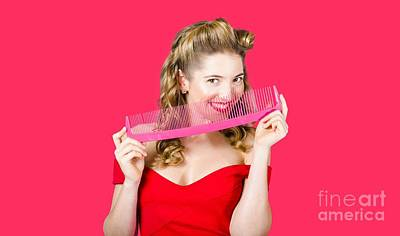 Beauty Salon Pinup Girl Smiling With Haircare Comb Poster