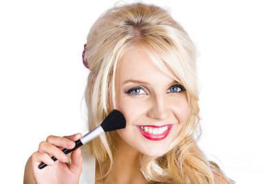 Beauty Woman Applying Beautiful Model Makeup Poster by Jorgo Photography - Wall Art Gallery