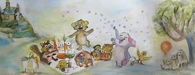 Beaver And Animal Picnic Poster by Denice Palanuk Wilson