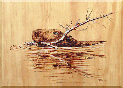 Poster featuring the pyrography Beaver by Ron Haist