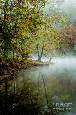 Beavers Bend Creek Misty Morning Poster by Iris Greenwell