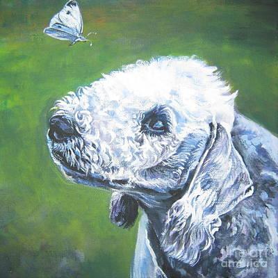 Bedlington Terrier With Butterfly Poster by Lee Ann Shepard