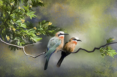Poster featuring the digital art Bee-eater Birds by Thanh Thuy Nguyen