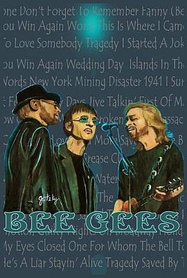 Bee Gees Poster Poster by Paintings by Gretzky
