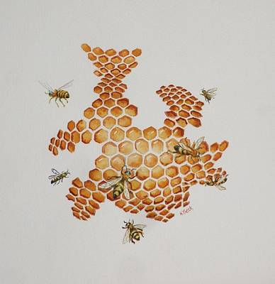 Poster featuring the painting Bee Hive # 1 by Katherine Young-Beck