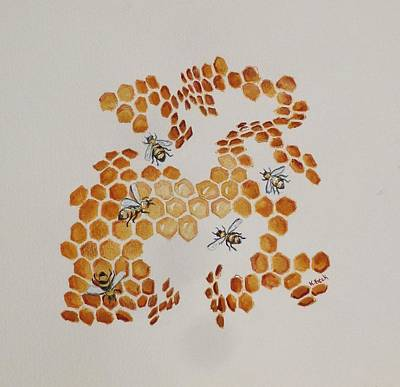 Poster featuring the painting Bee Hive # 5 by Katherine Young-Beck