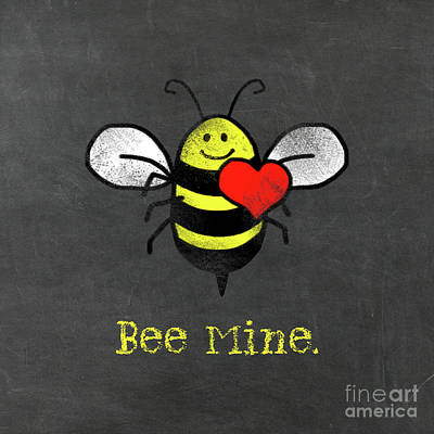 Bee Mine Cute Bee With Heart For Valentines Day Poster by Tina Lavoie