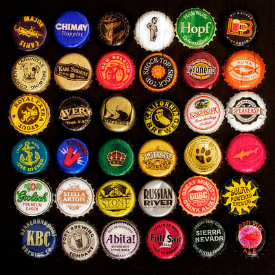 Beer Bottle Caps Poster by Jarrod Erbe