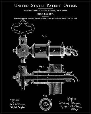 Beer Faucet Patent - Black Poster by Finlay McNevin
