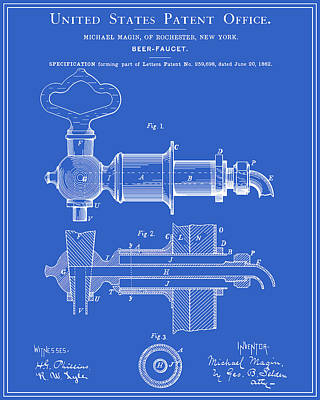 Beer Faucet Patent - Blueprint Poster by Finlay McNevin