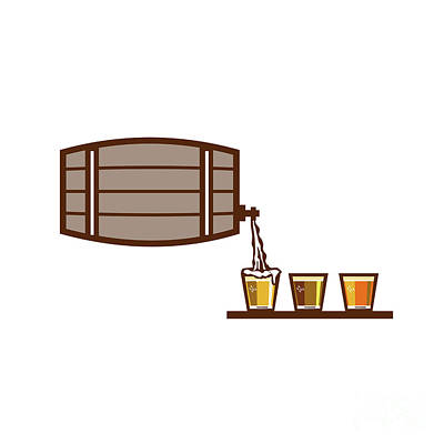 Beer Flight Keg Pouring On Glass Retro Poster