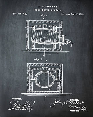 Beer Keg Refridgerator 1875 In Chalk Poster
