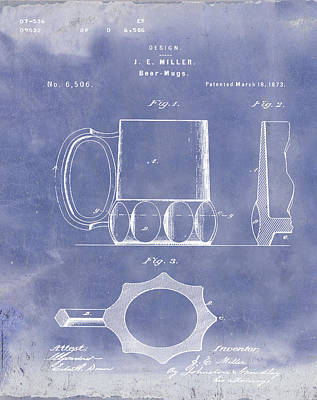 Beer Mug 1873 In Blue Grunge Poster by Bill Cannon