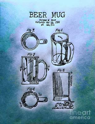 Beer Mug 1951 Patent - Blue Abstract Poster by Scott D Van Osdol