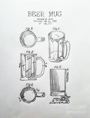Beer Mug 1951 Patent - Original  Poster by Scott D Van Osdol