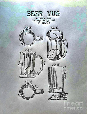 Beer Mug 1951 Patent - Silver Abstract Poster by Scott D Van Osdol