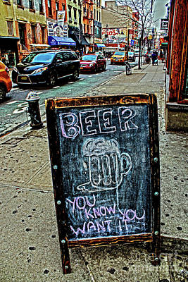 Poster featuring the photograph Beer Sign by Sandy Moulder