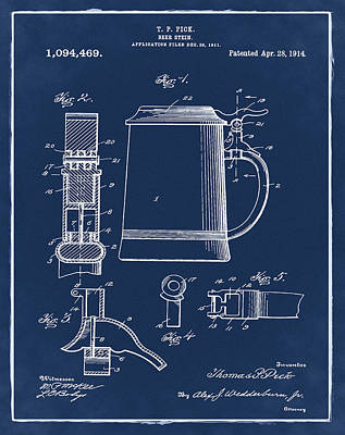 Beer Stein Patent 1914 In Blue Poster by Bill Cannon