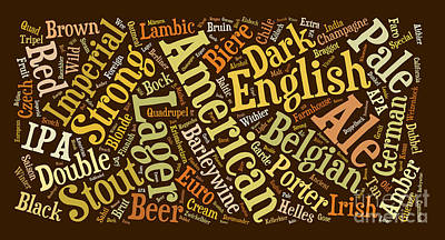 Beer Word Cloud Poster by Edward Fielding