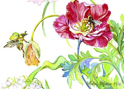 Beetle Poppy And Tulip Poster by Kimberly McSparran