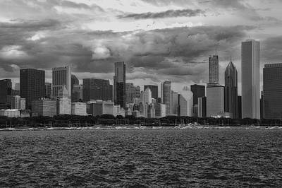 Before The Spring Storm Chicago Lakefront Bw 01 Poster
