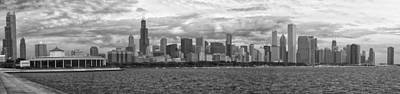 Before The Spring Storm Chicago Lakefront Panorama 05 Bw Poster