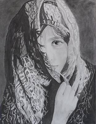 Poster featuring the drawing Behind The Veil by Quwatha Valentine