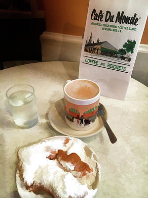 Beignet And Coffee At Cafe Du Monde Poster