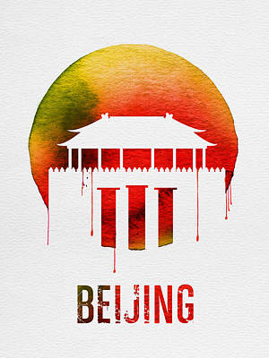 Beijing Landmark Red Poster by Naxart Studio
