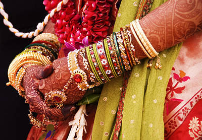 Bejewelled Bride With Henna Hands At Mumbai Wedding Poster by Gerard Walker