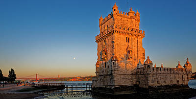 Belem Tower And The Moon Poster