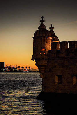 Belem Tower Sunset Poster by Carlos Caetano