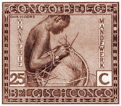 Poster featuring the painting Belgian Congo Woman Weaving Basket by Historic Image