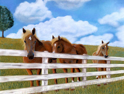 Poster featuring the pastel Belgians At Pasture by Jan Amiss