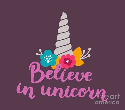 Believe In Unicorn Poster by Edward Fielding