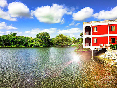 Belize River House Reflection Poster