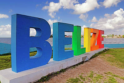 Poster featuring the photograph Belize Sign Dedicated To Lena Quinto - Fort George, Belize - Caribbean by Jason Politte