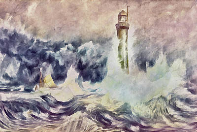 Bell Rock Lighthouse After Turner Poster by Georgiana Romanovna