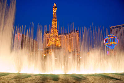 Bellagio Fountains In Front Of The Paris Casino On The Las Vegas Strip Poster by Utah Images