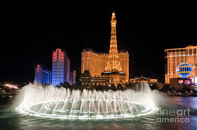 Bellagio Fountains Night 1 Poster by Andy Smy