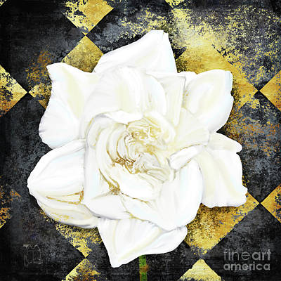 Belle, White Gardenia Blooms Amidst French Art Deco Grunge Poster by Tina Lavoie