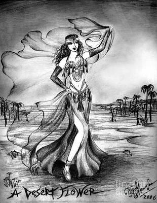 Belly Dancer With Veil. Desert Rose Poster by Sofia Metal Queen