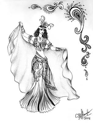 Belly Dancer With Veil. Friend Of Ameynra Poster by Sofia Metal Queen